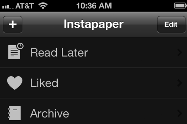 Instapaper iOS UI dark theme