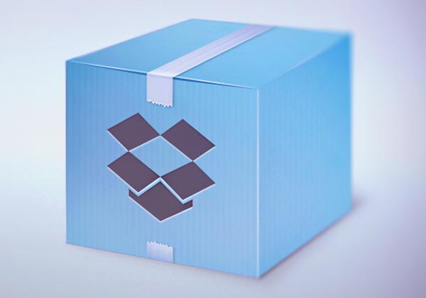 Custom Dropbox logo redesign blue shining box