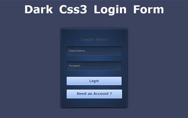 Dark CSS3 Login Form Tutorial
