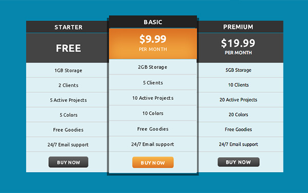Build a Responsive Pricing Table with Neat Hover States