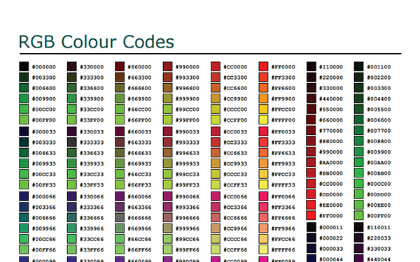 RGB Hex Colour Codes Cheat Sheet