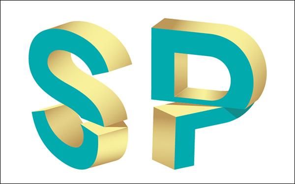 3D Split Text Vector Effect